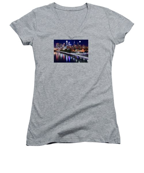 Full Moon Over Philly Women's V-Neck T-Shirt (Junior Cut) by Frozen in Time Fine Art Photography