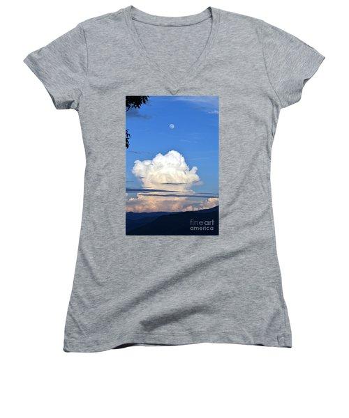 Full Moon Rising Over Blue Ridge Women's V-Neck T-Shirt (Junior Cut) by Gary Smith