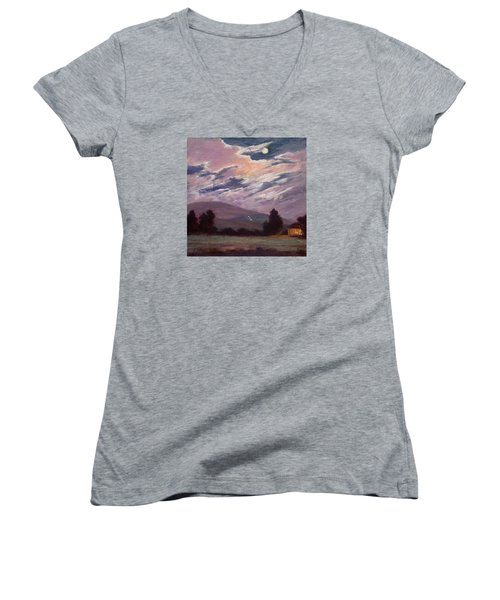 Full Moon With Clouds Women's V-Neck T-Shirt (Junior Cut) by Jane Thorpe