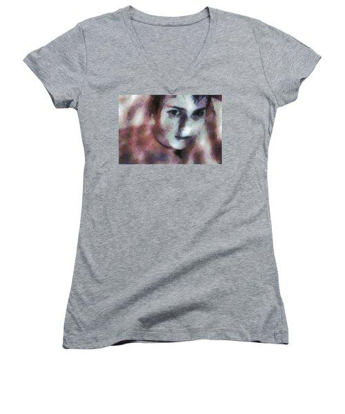 Women's V-Neck T-Shirt (Junior Cut) featuring the digital art Full Of Expectation by Gun Legler