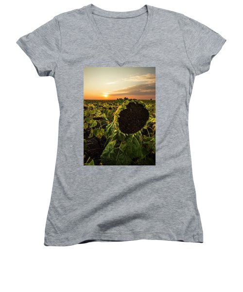 Women's V-Neck T-Shirt featuring the photograph Full Of Seed  by Aaron J Groen