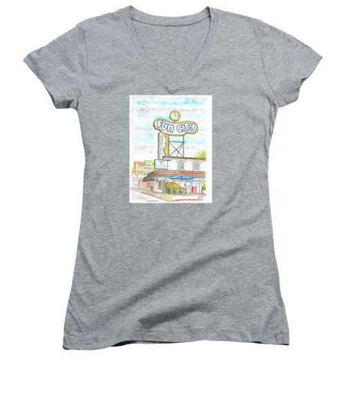 Fun City Motel, Las Vegas, Nevada Women's V-Neck (Athletic Fit)
