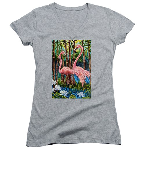 Fun Flamingos Women's V-Neck