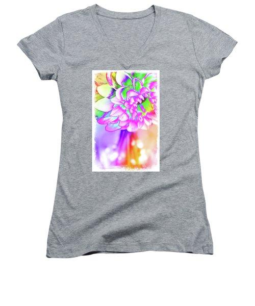 Funky Dahlia Women's V-Neck T-Shirt