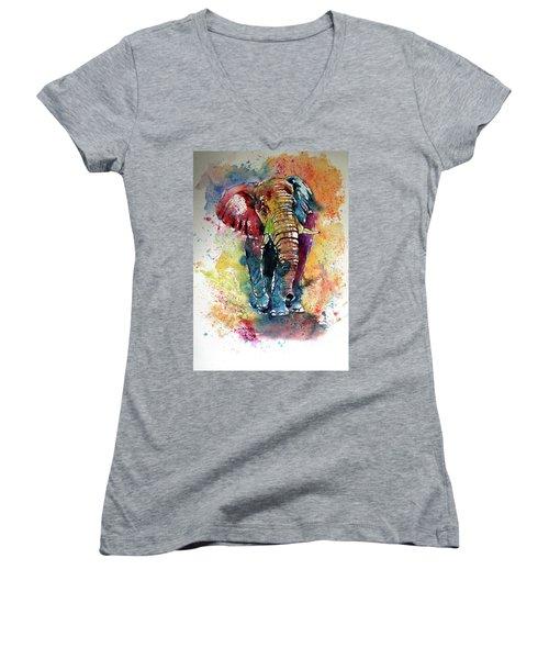 Women's V-Neck T-Shirt (Junior Cut) featuring the painting Funny Elephant by Kovacs Anna Brigitta