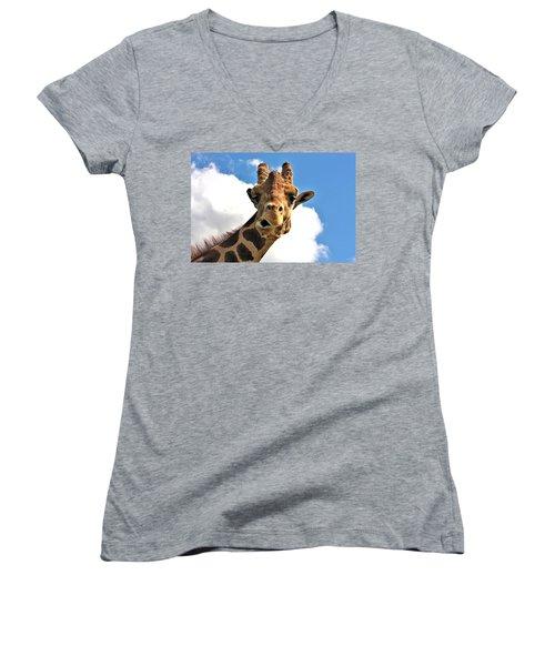 Funny Face Giraffe Women's V-Neck (Athletic Fit)