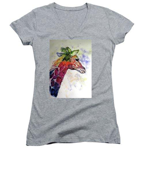 Women's V-Neck T-Shirt (Junior Cut) featuring the painting Funny Giraffe by Kovacs Anna Brigitta