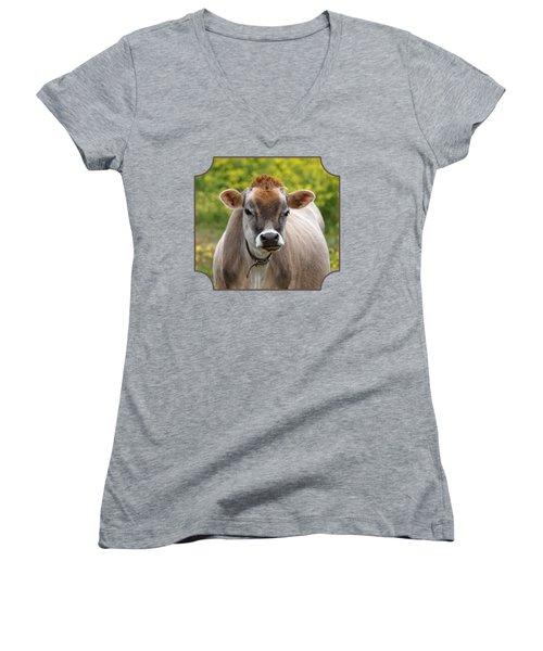 Funny Jersey Cow - Horizontal Women's V-Neck T-Shirt