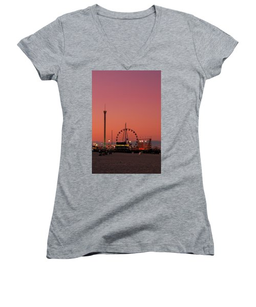 Funtown Pier At Sunset II - Jersey Shore Women's V-Neck (Athletic Fit)