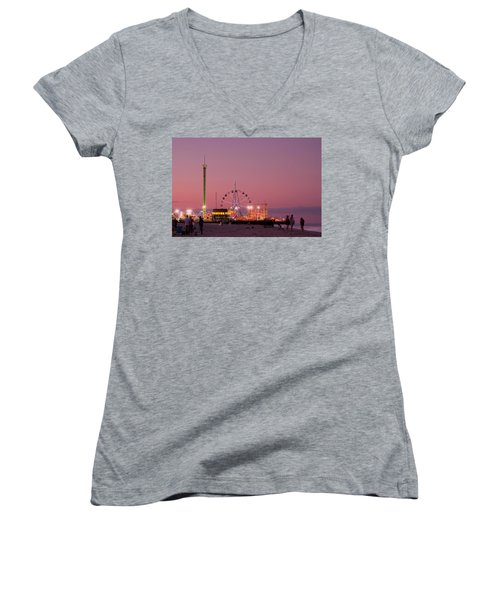 Funtown Pier At Sunset IIi - Jersey Shore Women's V-Neck (Athletic Fit)