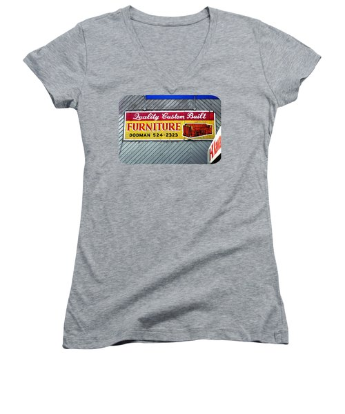 Furniture Sign Women's V-Neck T-Shirt (Junior Cut) by Ethna Gillespie