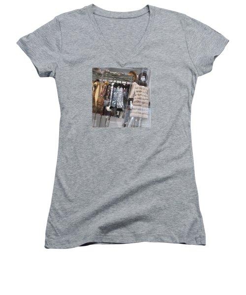 Furs Women's V-Neck T-Shirt (Junior Cut) by Anna Yurasovsky