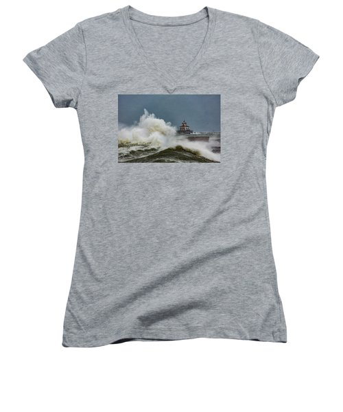 Women's V-Neck T-Shirt (Junior Cut) featuring the photograph Fury On The Lake by Everet Regal
