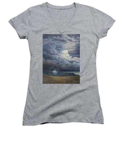 Women's V-Neck T-Shirt (Junior Cut) featuring the painting Fury Over Square Butte by Kim Lockman