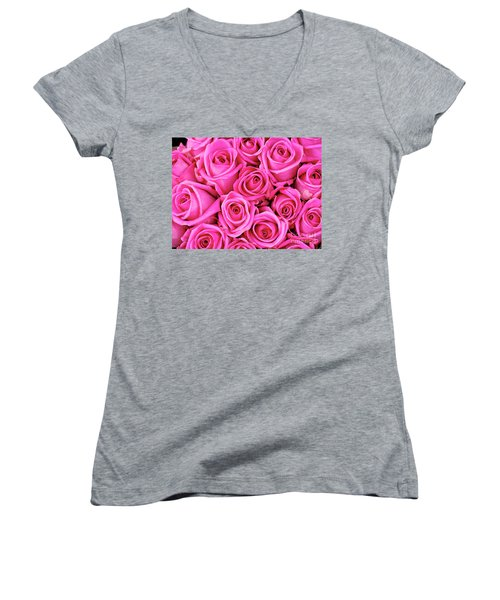 Fuschia Colored Roses Women's V-Neck (Athletic Fit)
