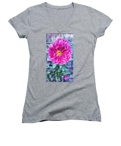 Fuschia Dahlia In Oil Women's V-Neck T-Shirt