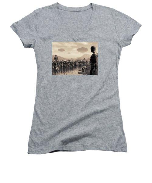 Future Cattle Women's V-Neck T-Shirt (Junior Cut) by John Alexander