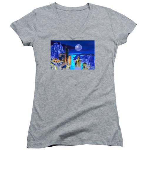 Futuristic City Women's V-Neck (Athletic Fit)