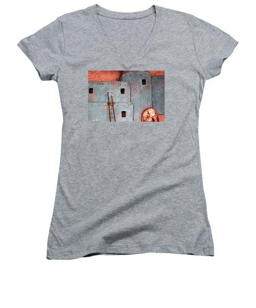 Futuristic Pueblo Women's V-Neck T-Shirt
