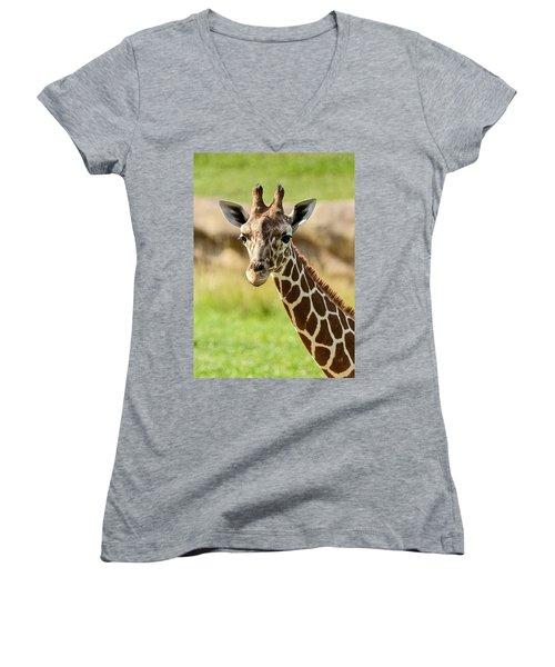 Women's V-Neck T-Shirt (Junior Cut) featuring the photograph G Is For Giraffe by John Haldane