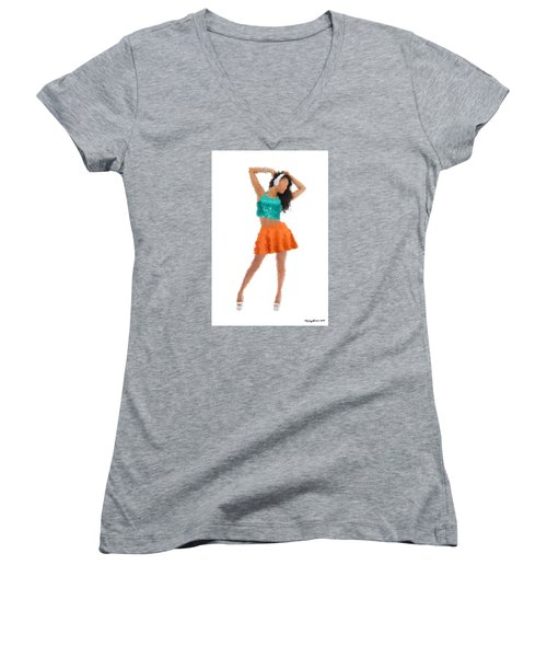 Women's V-Neck T-Shirt featuring the digital art Gaby by Nancy Levan