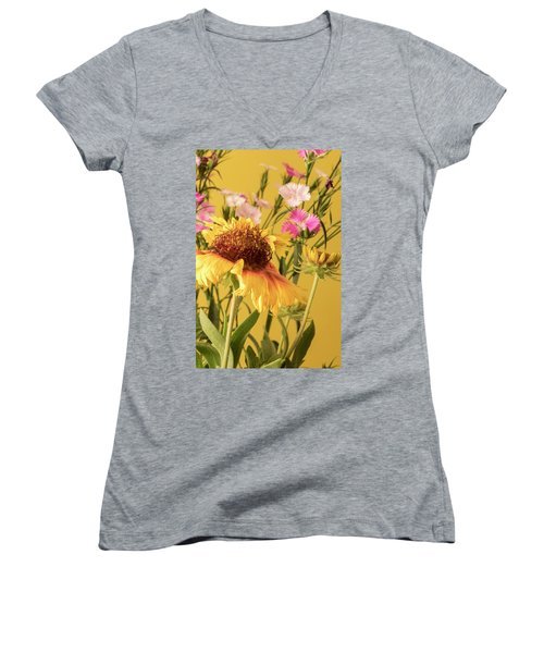 Women's V-Neck T-Shirt (Junior Cut) featuring the photograph Gaillardia And Dianthus by Richard Rizzo