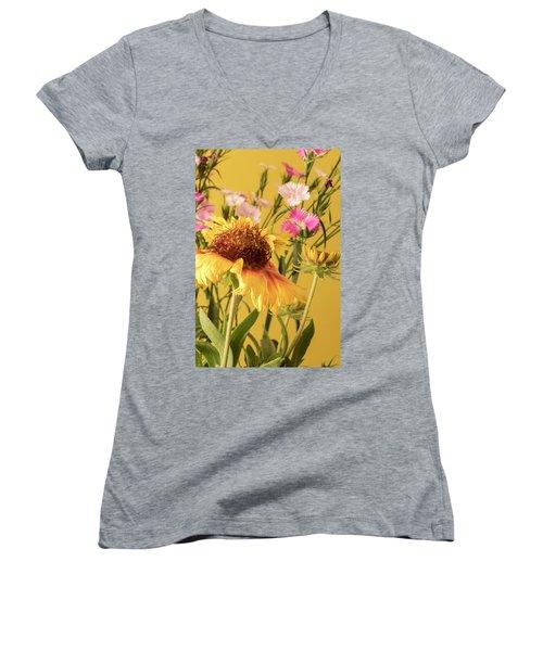 Gaillardia And Dianthus Women's V-Neck T-Shirt (Junior Cut) by Richard Rizzo