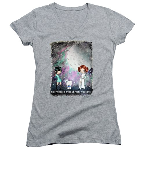 Women's V-Neck T-Shirt (Junior Cut) featuring the painting Galaxy Cosplay by Lizzy Love