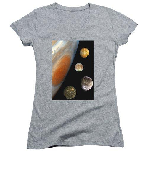 Galilean Moons Of Jupiter Women's V-Neck