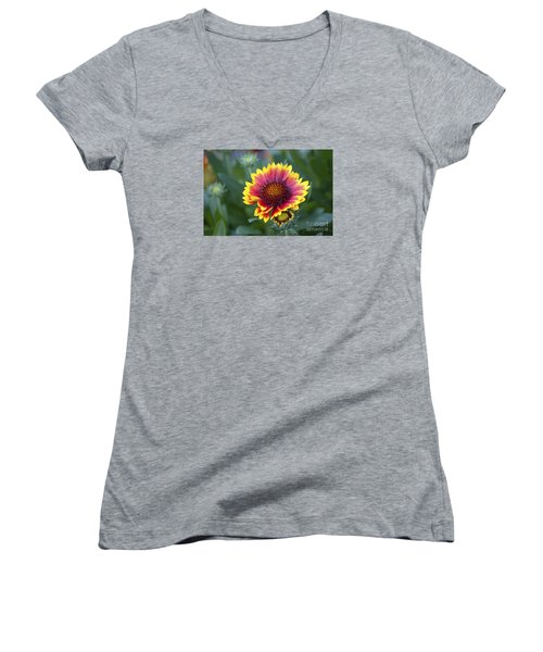 Women's V-Neck T-Shirt (Junior Cut) featuring the photograph Gallardia 20120615_183b by Tina Hopkins