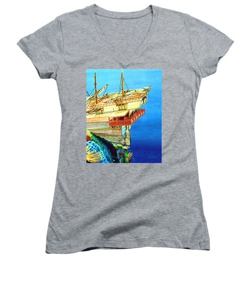 Galleon On The Reef 2 Filtered Women's V-Neck T-Shirt