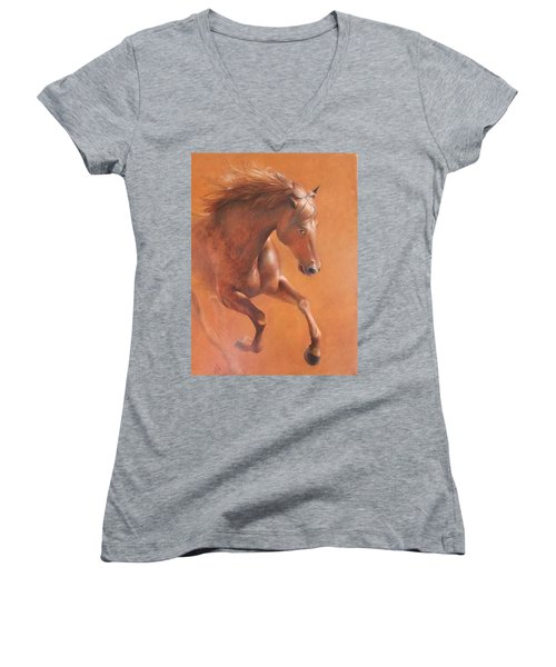 Gallop In The Desert Women's V-Neck T-Shirt (Junior Cut) by Vali Irina Ciobanu