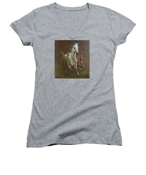 Gallop In The Eyelash Of The Morning Women's V-Neck T-Shirt (Junior Cut) by Vali Irina Ciobanu