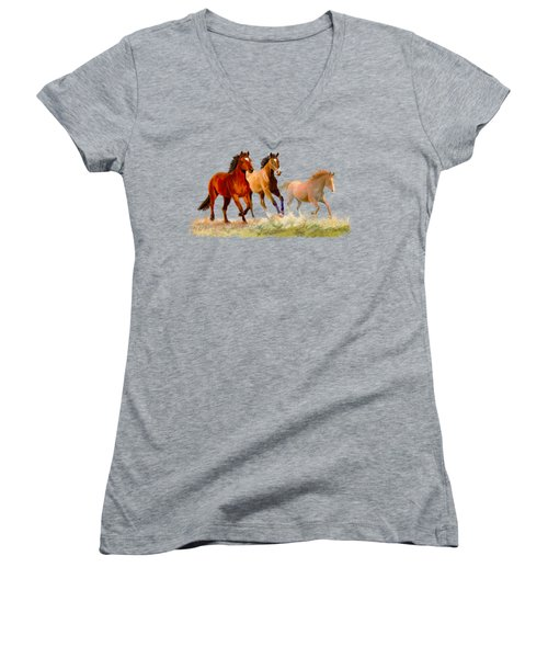 Galloping Horses Women's V-Neck