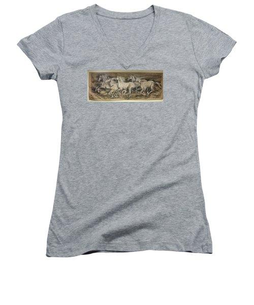 Galloping Stallions Women's V-Neck T-Shirt