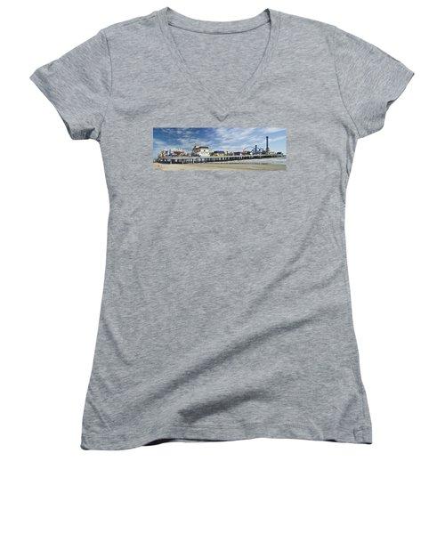 Galveston Pleasure Pier Women's V-Neck T-Shirt (Junior Cut) by Allen Sheffield