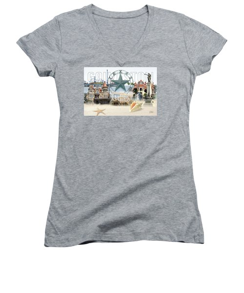 Galveston Texas Women's V-Neck T-Shirt (Junior Cut) by Doug Kreuger