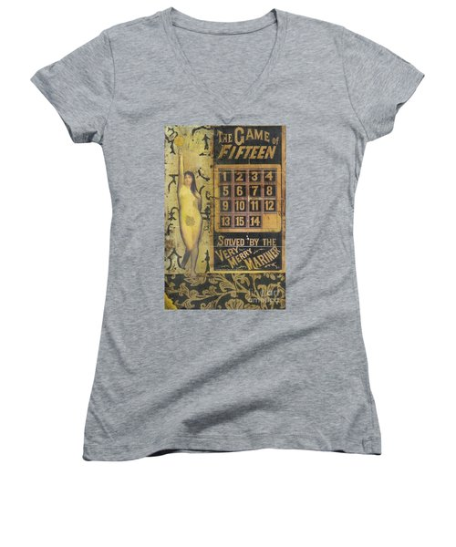 Women's V-Neck T-Shirt (Junior Cut) featuring the mixed media Game Of Fifteen by Desiree Paquette