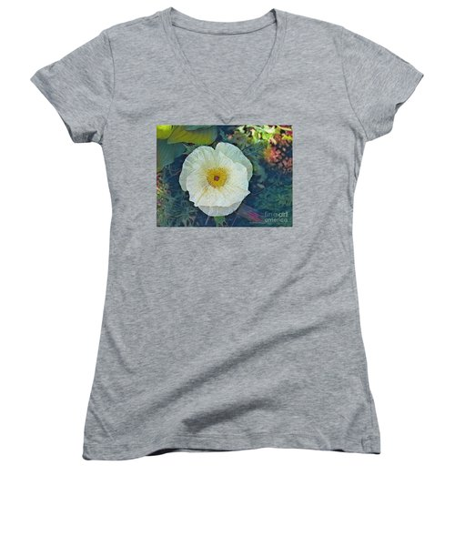 Women's V-Neck T-Shirt (Junior Cut) featuring the photograph Garden Beauty by Kathie Chicoine