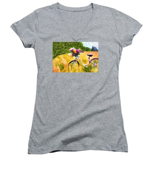 Garden Bicycle Print Women's V-Neck T-Shirt (Junior Cut) by Tina LeCour
