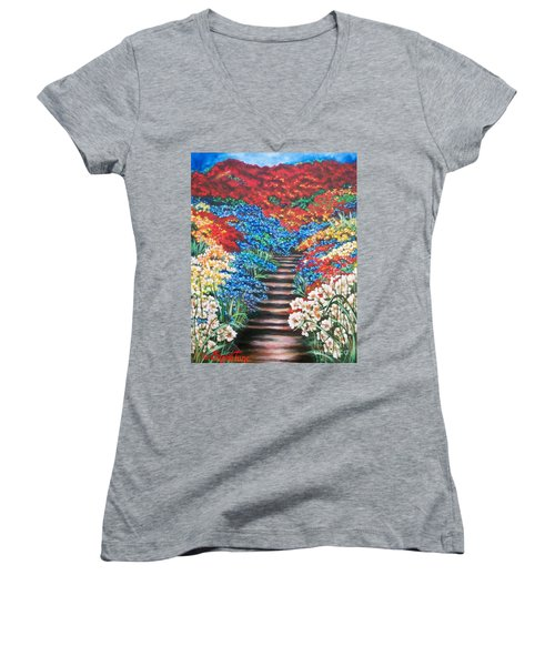 Women's V-Neck T-Shirt (Junior Cut) featuring the painting Garden Cascade by Sigrid Tune