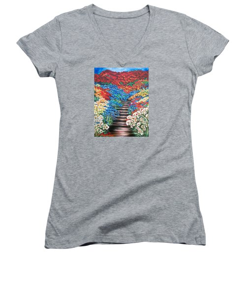 Red White And Blue Garden Cascade.               Flying Lamb Productions  Women's V-Neck (Athletic Fit)