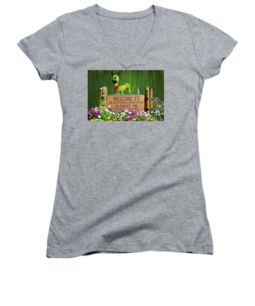 Garden Festival Mp Women's V-Neck T-Shirt (Junior Cut) by Thomas Woolworth