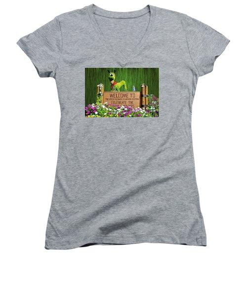Garden Festival Mp Women's V-Neck T-Shirt (Junior Cut)
