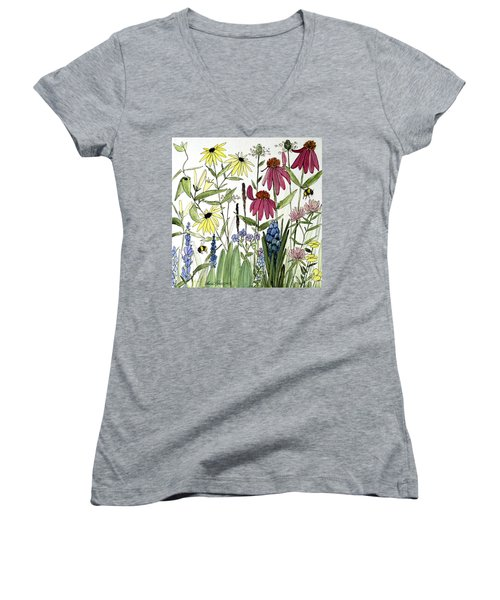 Garden Flowers With Bees Women's V-Neck