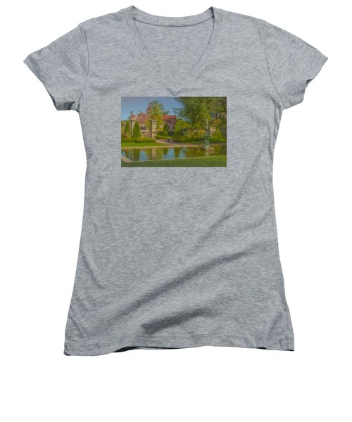 Garden Fountain At Ames Free Library Women's V-Neck