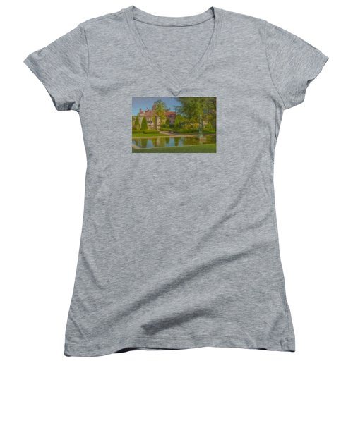 Garden Fountain At Ames Free Library Women's V-Neck T-Shirt