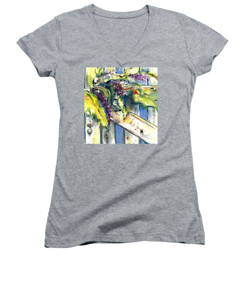 Garden Gate In Fall With Poke Berries  Women's V-Neck (Athletic Fit)