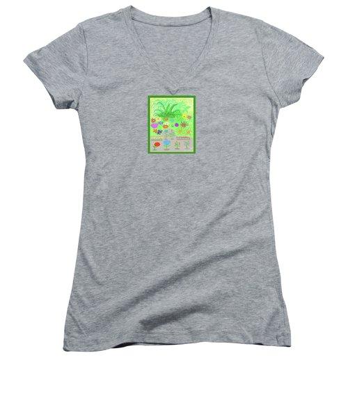 Garden Of Memories Women's V-Neck T-Shirt (Junior Cut) by Fred Jinkins