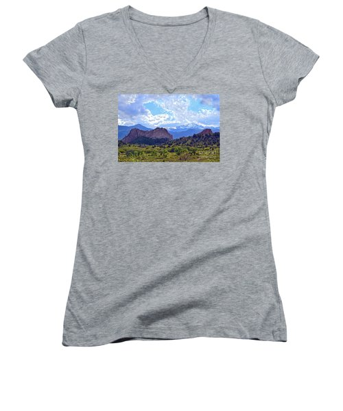 Garden Of The Gods Women's V-Neck T-Shirt (Junior Cut) by Catherine Sherman